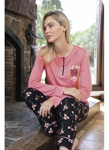 Aydoğan Kadın Poplin Uzun Kollu Pijama Takımı Renkli